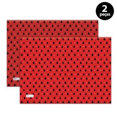 Imagem de Jogo Americano Mdecore Natal Arvore de Natal 40x28 cm Vermelho 2pçs