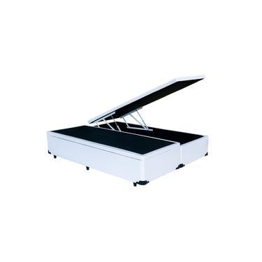 Cama Box Bau Queen Size Bipartida Branca 1,58 X 1,98