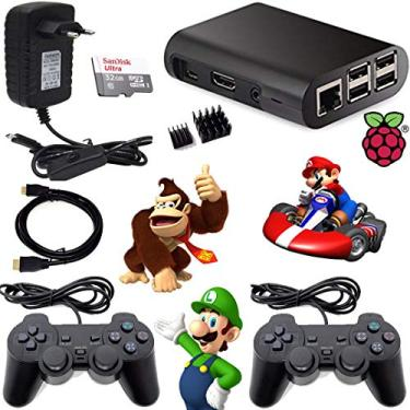 Video Game retro 9000 jogos Recalbox Raspberry Pi3 2 Controles PS2