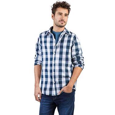6a0d89a225 Camisa Xadrez Manga Longa Azul Marinho Branco Azul Marinho Branco M