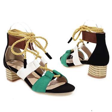Imagem de SaraIris Sandálias femininas de salto coloridas, com cadarço, bico aberto, gladiador, tiras no tornozelo, sandálias de verão para mulheres, 1 preto, 11