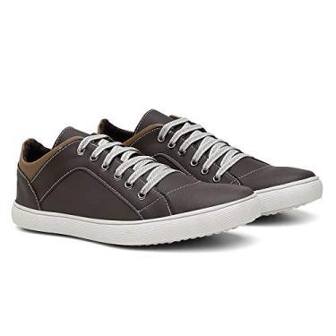 Sapatênis Casual Masculino Conforto Leve Gugi Calçados Dia a Dia Cor:Marrom; Tamanho:39