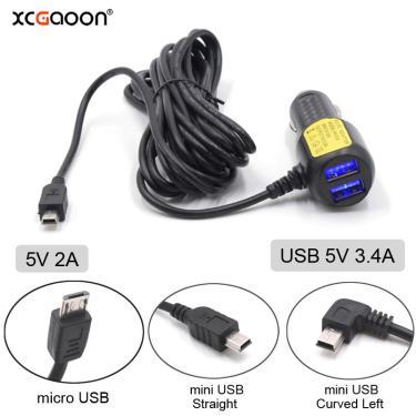 Xcgaoon 3.5 metro 5v 3.4a mini micro usb carregador de carro com 2 porta usb para xiaomi 70mai yi