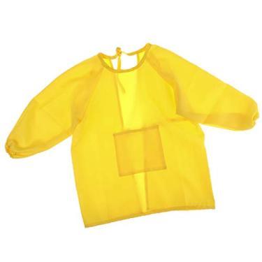 Baosity Avental infantil para artesanato, manga comprida, desenho, pintura, cozinha - amarelo