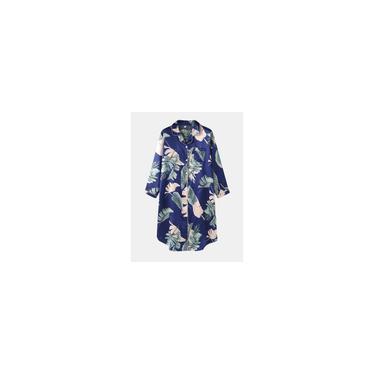 Vestido feminino com estampa de folha de gelo de seda no peito com bolso de manga comprida