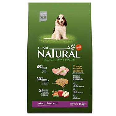 Ração para Cães Filhotes Guabi Natural Porte Médio Frango e Arroz 15Kg