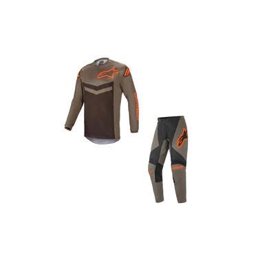 Conjunto Calça + Camisa Alpinestars Fluid Speed 21Cinza Laranja