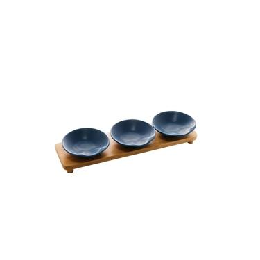 Imagem de Kit 3 Petisqueira Porcelana Bon Gourmet Base Bambu Azul Matt