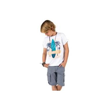 Conjunto Infantil Camiseta Branca Surf E Bermuda Jeans Listrada Azul E Branco Johnny Fox