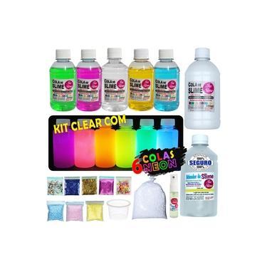 Imagem de Kit para Fazer Slime com colas coloridas transparentes + 6 Colas Neon