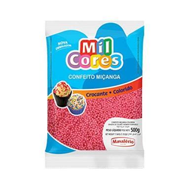 Imagem de Confeito Miçanga Rosa Mil Cores 500g - Mavalério
