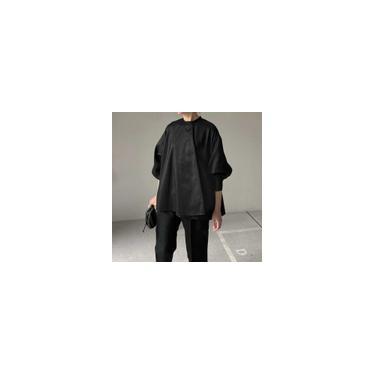 Vonda 3 cores femininas manga longa gola redonda blusa casual cor sólida habilidade camisetas largas camisetas túnicas Preto 3XL