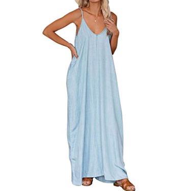 SAFTYBAY Vestido maxi feminino sem mangas com gola V, vestido longo estilo boho, estilo tie dye, solto, vestido longo casual para mulheres, Cor lisa azul, L