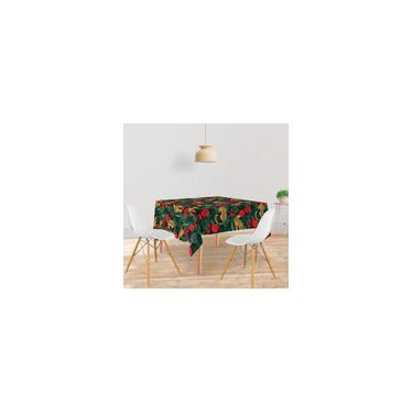 Imagem de Toalha De Mesa Quadrada Tecido Oxford Onças e Rosas Vermelhas -140x140cm