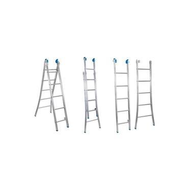 Escada Extensiva 3 Em 1 Aluminio 2 X 5 - 10 Degraus Alumasa