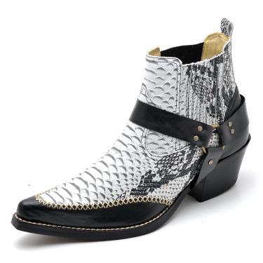 Bota Top Franca Shoes Country Gelo e Preto  masculino