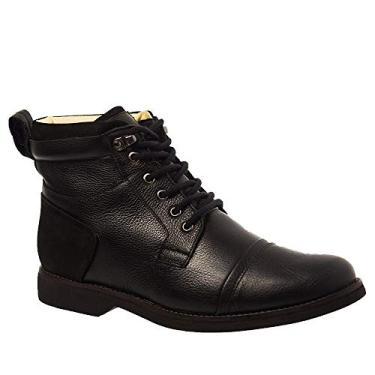 Coturno Masculino Gel Anatômico em Couro Preto Floater/Nobuck Preto 8617 Doctor Shoes-Preto-39