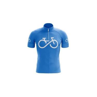 Camiseta Sublimada Manga Curta Bike Azul Mtb Ciclismo Bike