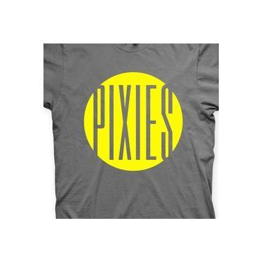 Camiseta Pixies Chumbo e Amarela em Silk 100% Algodão