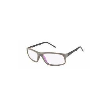 bbd5ac7705033 Armação Óculos Grau Masculino Acetato Quadrada Retrô Cinza