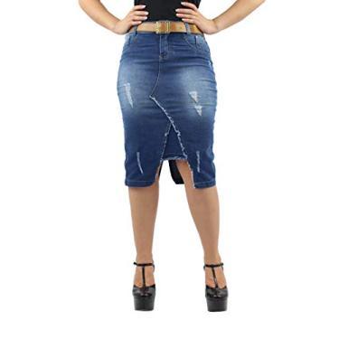 Saia Jeans Midi com Cinto Anagrom Moda Evangélica Ref.127 (36)
