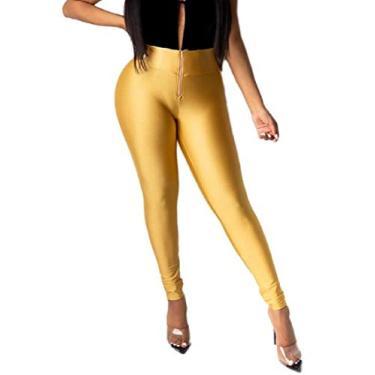 Calça feminina SHOWNO Slim Fit com zíper cintura alta básica, cor pura, elástica, Dourado, S
