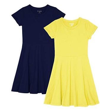 KIDPIK Vestido camiseta com bainha de babados, pacote com 2 - vestidos para meninas, Skater Dress 2pk- Kidpik Navy-limelight, 4