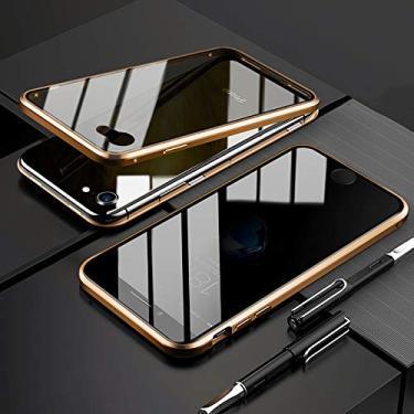 EUDTH Capa para iPhone 7/iPhone 8, capa anti-espião, moldura de metal com absorção magnética + capa de vidro temperado capa protetora de corpo inteiro para iPhone 7/iPhone 8 (dourada)