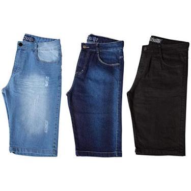 Kit com 3 Bermudas Masculinas Sarja Jeans Short Slim Lycra Brim - Preta, Jeans Claro e Jeans Escuro - 38