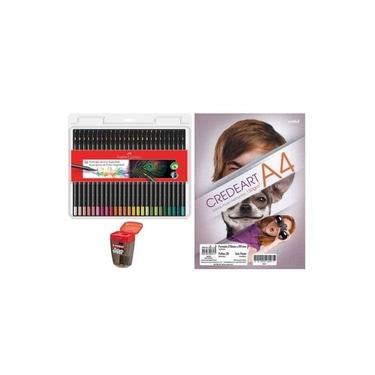 Kit - Lápis de Cor Faber-Castell Supersoft 50 Cores + Bloco Para Desenho A4 + Apontador Stabilo Exam Grade