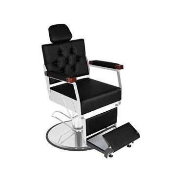 Cadeira de Barbeiro Reclinável Tebas Prime Pé Redondo