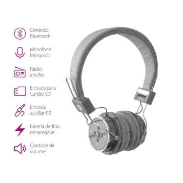 Fone de ouvido Headphone Bluetooth Micro Sd Mp3 Rádio Fm Player B05 Cinza