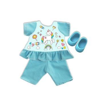 Roupa para Boneca - Kit Unicórnio – Veste Bonecas Tipo Baby Alive – Laço de Fita