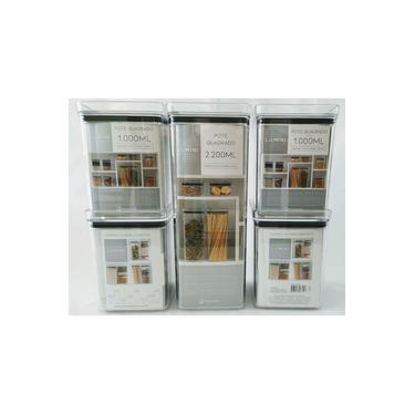 Imagem de Kit 5 Potes Herméticos p/Alimentos / Mantimentos Quadrados Empilháveis Acrílico Lumini Paramount