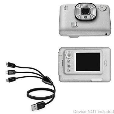 Cabo Fujifilm Instax Mini LiPlay, BoxWave [Cabo Micro USB MultiCharge] Cabo de carregamento múltiplo Micro USB para Fujifilm Instax Mini LiPlay – Preto
