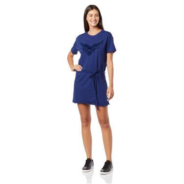 Vestido casual Malha Estampada, Ellus, Feminino, Azul Jeans, M