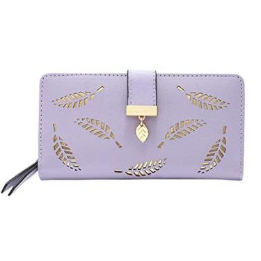 Carteira feminina com design delicado de folhas recortadas, vários compartimentos para cartão, bolsa de mão, carteira de couro, bolsa de mão, Roxa, One Size