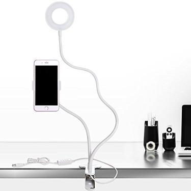 Yuanbbo Anel de luz para selfie com suporte de telefone celular, 3 modos de iluminação, anel de luz LED com suporte preguiçoso, suporte de mangueira flexível para iPhone Android