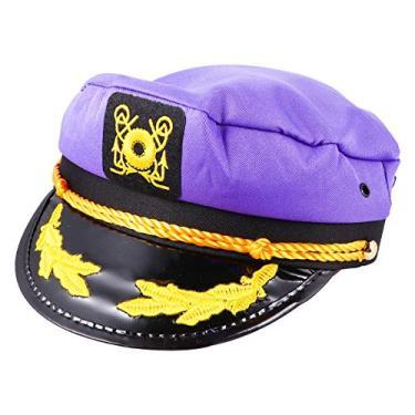 TOYANDONA Boné de capitão de iate colorido navio de cruzeiro náutico almirante marinheiro boné ajustável cosplay acessório para festa roxo