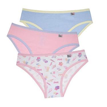 Kit de Calcinhas , Infantil com 3 peças, Meninas, Delrio, Multicolorido, GG