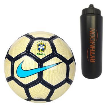 Kit Bola Futebol CBF Society Nike Branco Amarelo Azul + Squeeze Automático  1lt ba50e097609a7