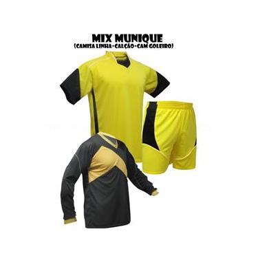 Uniforme Esportivo Munique 1 Camisa de Goleiro Omega + 14 Camisas Munique +14 Calções - Amarelo x Preto x Branco