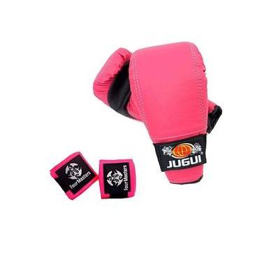 Kit Luva Bate Saco + Bandagem Muay thai Boxe artes Marciais - Rosa