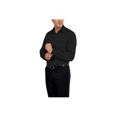 Camisa Social Manga Longa 100% Microfibra Masculina Preta