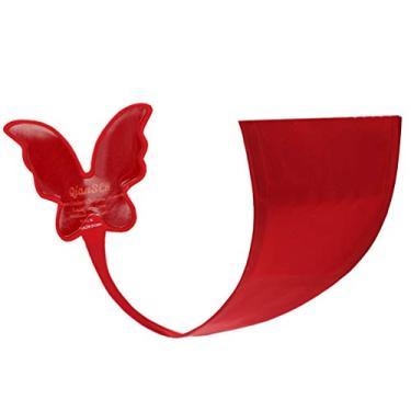 Calcinha fio dental KesYOO feminina, sem alças, em forma de borboleta, autoadesiva, sem linha, calcinha sexy micro nas costas, Vermelho, L