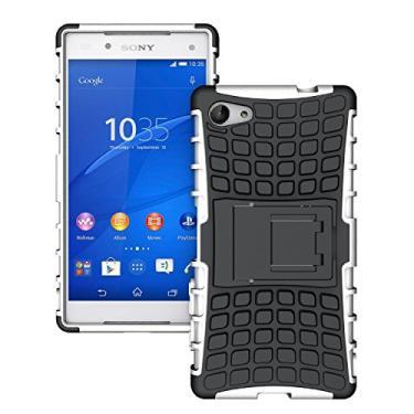 SCIMIN Capa compacta para Sony Xperia Z5, capa para Xperia Z5 Mini, proteção de camada dupla/à prova de choque/resistência a quedas, capa híbrida robusta com suporte para Sony Xperia Z5 de 4,6 polegadas (branca)