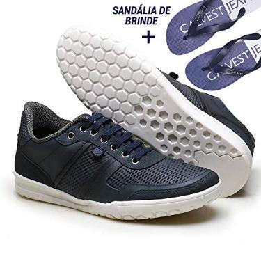 Sapatênis em Couro Calvest TRE – Marinho ZMSD3880D301 – Ganhe Sandália Exclusiva Calvest-38