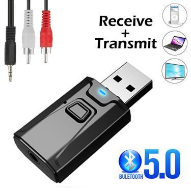 Usb bluetooth 5.0 transmissor receptor mic 3 em 1 edr adaptador dongle 3.5mm aux para tv pc fones de