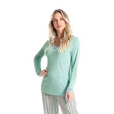 Pijama Longo Estampado Liz Bege/G