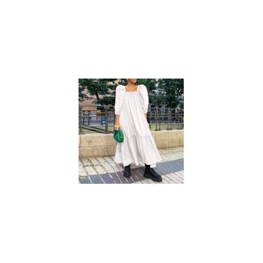 Vestido feminino moda praia férias feminino tamanho grande largo vestido maxi Branco M